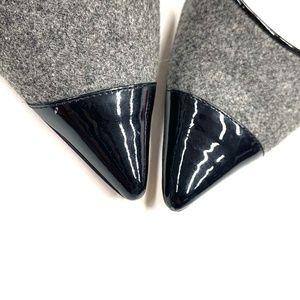 Jimmy Choo Shoes - Jimmy Choo Gray Wool Patent Leather Cap Toe Heels